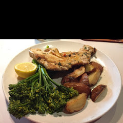Chicken Under Brick, red potatoes and broccolini.