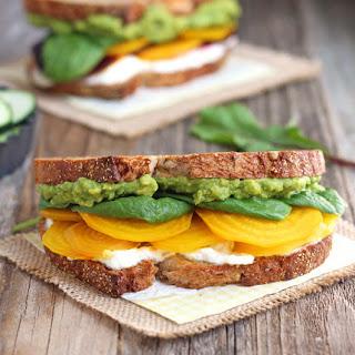 Golden Beet & Avocado Sandwich.