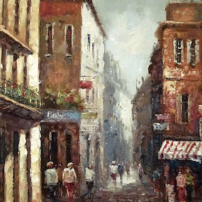 Loving narrow streets by Amas Art - Painting All Painting ( narrow, beige, brown, streets, town, painting, oil )