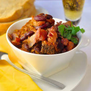 Prime Rib Beer and Bacon Chili - a luxury leftover meal.