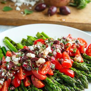 Grilled Asparagus and Tomatoes in a Kalamata Olive and Feta Vinaigrette