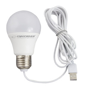 Set 2 x bec cu LED lumina calda, alimentare la USB, 5W, lungime cablu 2.5 metri