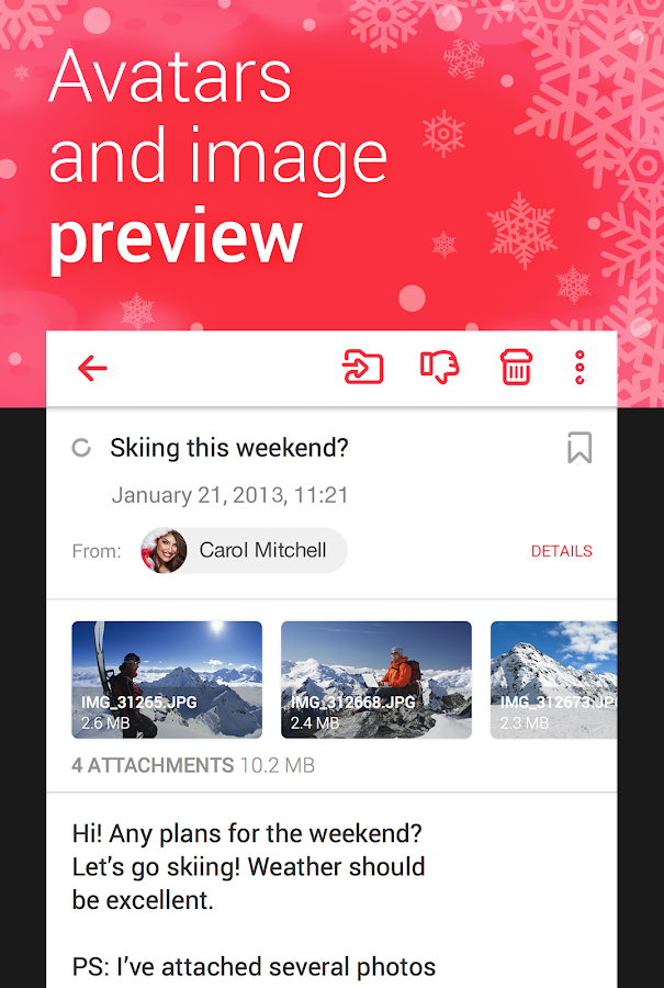 Screenshots of myMail—Free Email Application for iPhone