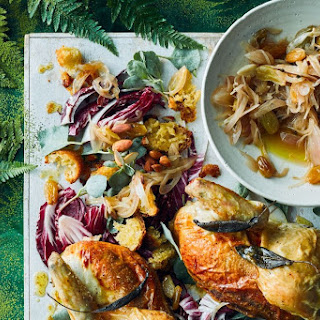 Roast Chicken With Fried Bread Salad And Agrodolce