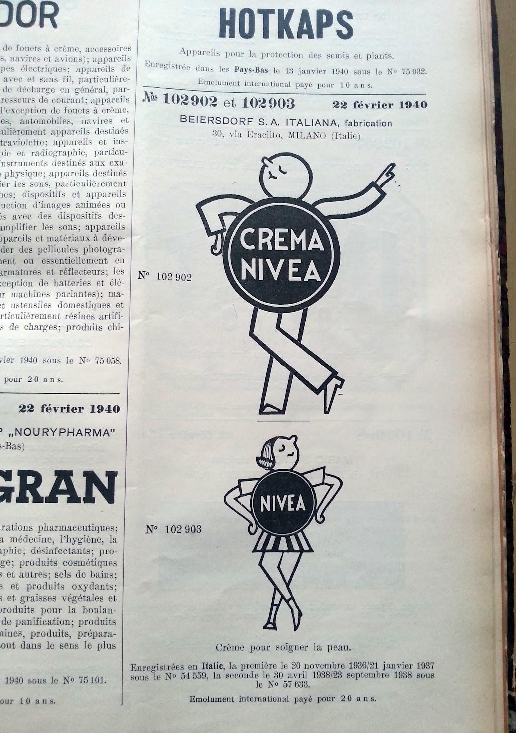 Trademark-Verzeichnis 1940 Nivea