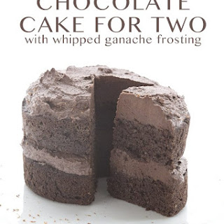 Chocolate Cake with Whipped Ganache Frosting for Two.