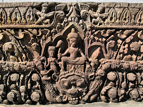 Photo: detailed Khmer stone lintel in Phimai National Museum