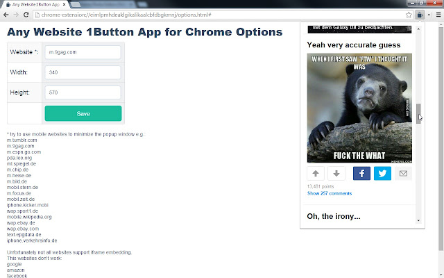 Any Website 1Button App for Chrome