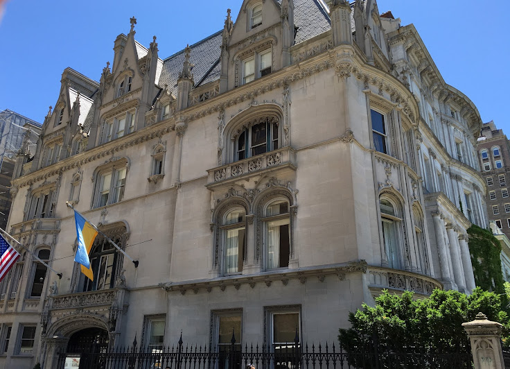 The Issac D. Fletcher House, flying the Ukrainian flag.