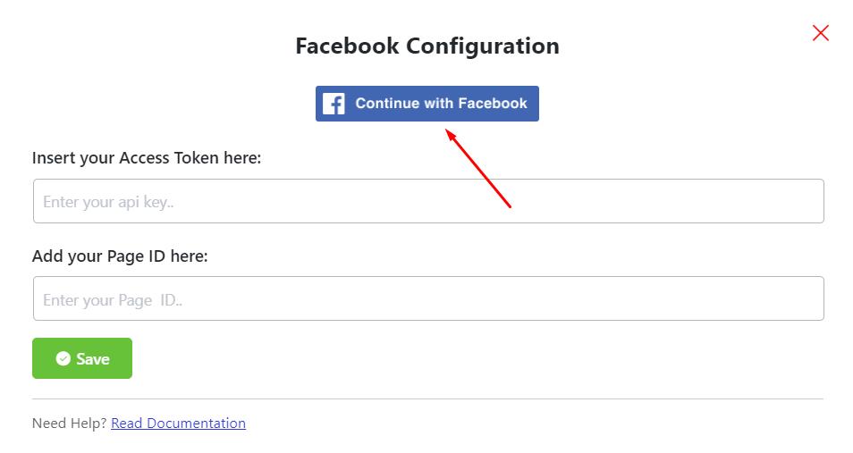 Facebook reviews configuration