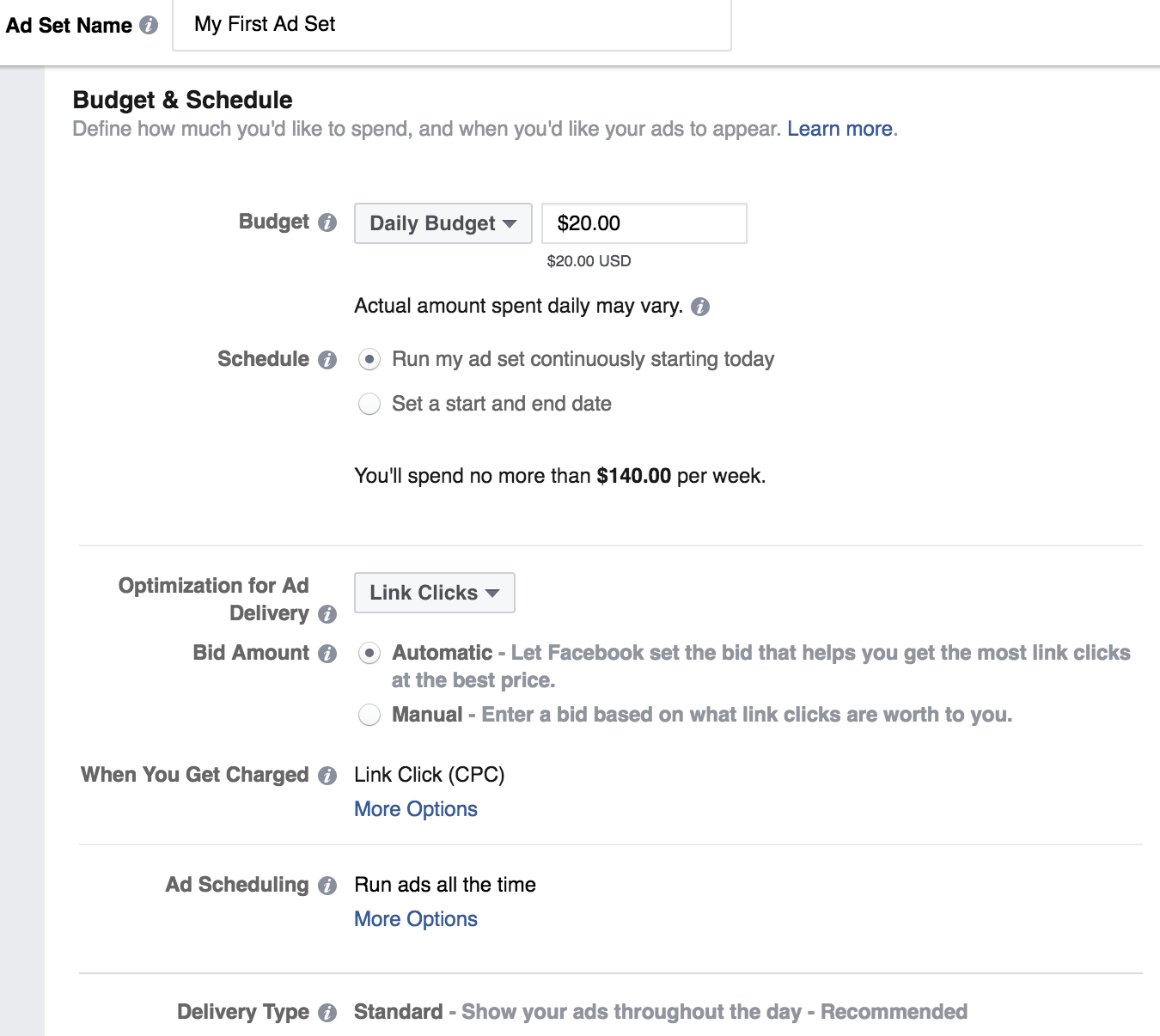 Budget and Schedule - Facebook Ad Sets