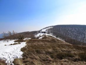Photo: 11.Przed nami Małe Jasło (1097 m). Na tej polanie okrutnie nas przewiało zimą. Obecny wiatr jest już zaledwie cieniem zimowego.