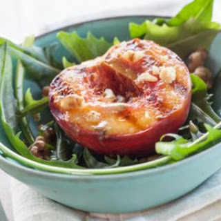 Grilled Peaches with Dandelion and Ginger Dressing