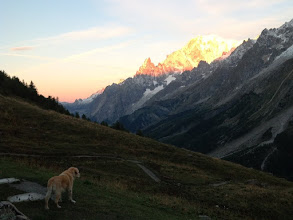 Photo: After an almost sleepless night in the dorm, we rise with the sun as it floods Mt Blanc with glorious light.