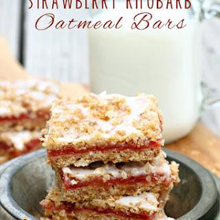 Strawberry Rhubarb Oatmeal Cookie Bars
