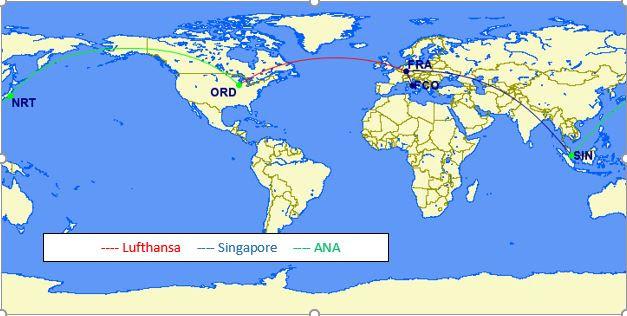 Lufthansa, Singapore, ANA
