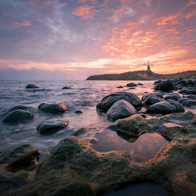 Anothe Sunset by Atanas Donev - Landscapes Waterscapes ( clouds, mill, waterscape, sea, rocks,  )
