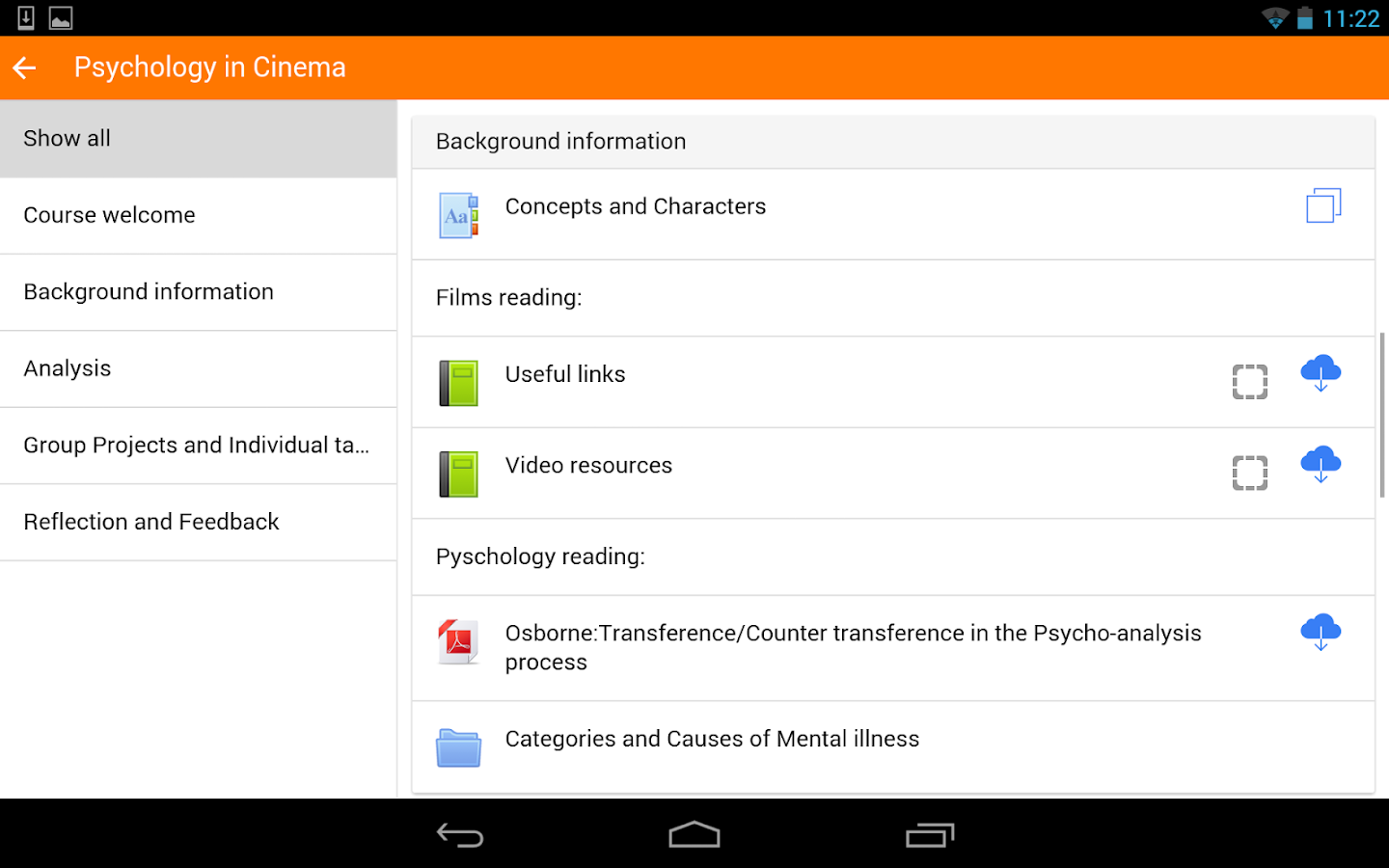 Moodle Mobile- screenshot