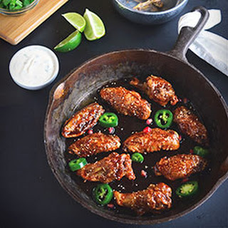 Pomegranate Glazed Chicken Wings with Honey Goat Cheese Dipping Sauce