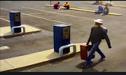 A man was caught on camera carrying a job vacancies drop-box he allegedly stole from the Newcastle municipality.