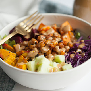 Sweet Dijon Vinaigrette and Chickpea, Sweet Potato, Beet and Vegetable Salad Bowl