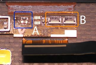 Photo: A - 3A, 32V Fuse B - Backlight connectors, Hirose