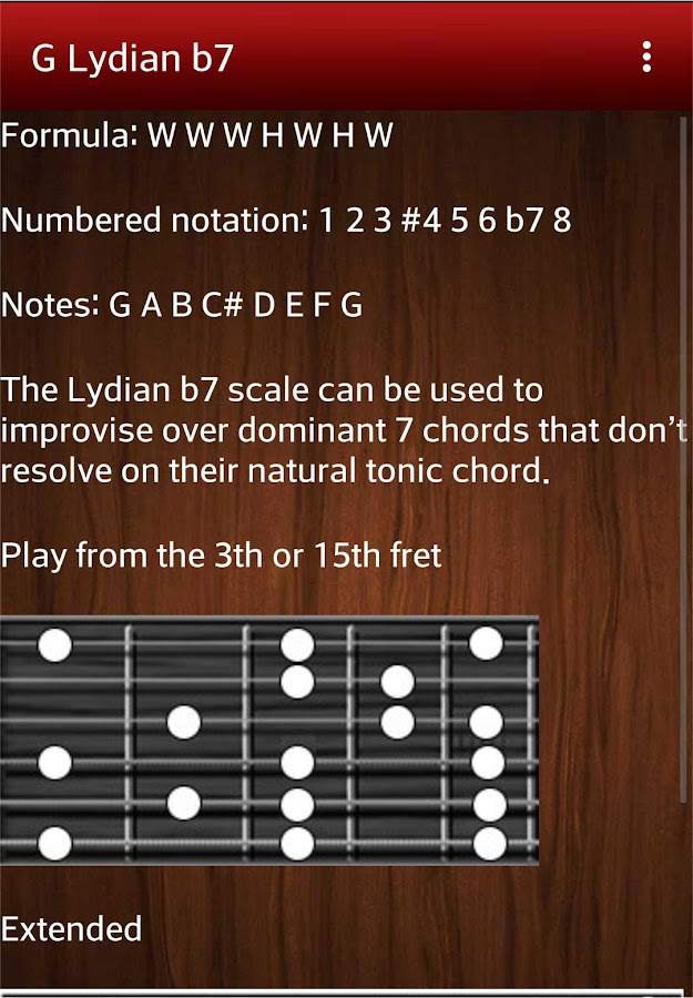 Chord and scale glossary- screenshot