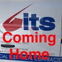 a photo of the its electrical logo with coming home written underneath it