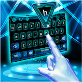3D Neon Hologram Typewriter Keyboard Theme