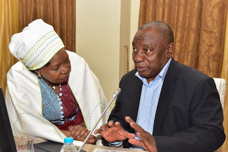 President Cyril Ramaphosa (right) speaks to Minister in the Presidency Nkosazana Dlamini-Zuma during the Cabinet lekgotla in Pretoria this week. Picture: NTSWE MOKOENA
