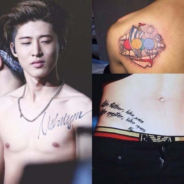 """7a26ebc47 IKON's B.I has a couple of noticeable tattoos on his body. One on his waist  has the phrase """"Like father, like son, like master, like man""""."""