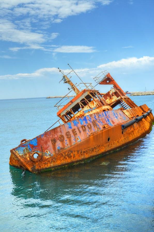 Shipwreck of Poseidon,Piraeus,Greece (ΙΙ) by Sergio Georgakopoulos - Transportation Boats ( shipwreck, ship, greece, piraeus )