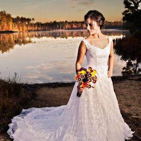 by Cody Miller - Wedding Bride ( clouds, water, beautiful, romantic, lake, romance, love, bridal, dawn, fog, wedding, mother's gown, bride, generation,  )