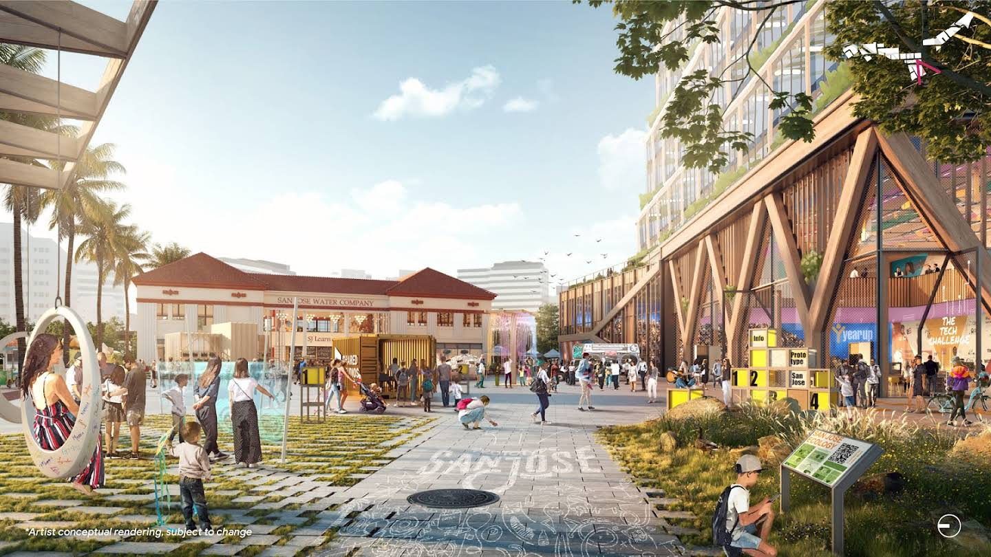 A rendering of what the Gateway might look like with people and future buildings.