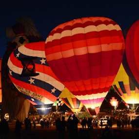 Night Glow! by Hal Gonzales - Transportation Other ( hot air balloon, skyline, night photography, colors, fire,  )