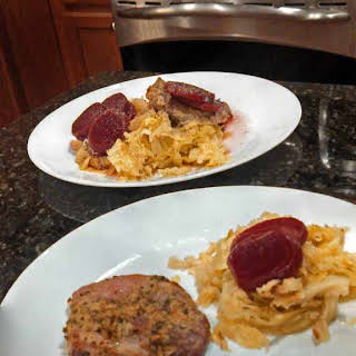 Dijon Pork Chops With Cabbage & Beets.