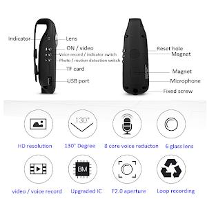 Mini camera IDV007 Full HD 1080P, 130 grade rotire