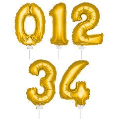 Folieballong m pinne 36 cm guld, 0-4
