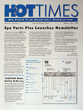Photo: This is the cover of the newsletter I designed for Spa Parts Plus, a company I worked for briefly as a Designer and Creative Director, in 1999