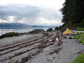 Photo: My campsite on the beach at Point Anmer. Looking northward up Stephens Passage.