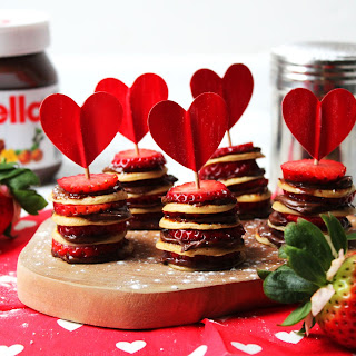Mini Pancake Stacks with Nutella and Strawberries.