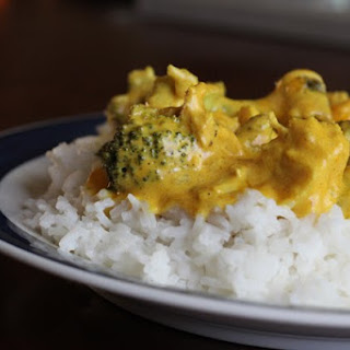 Curried Chicken and Broccoli with Rice.