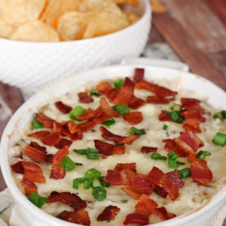 Cheesy Pineapple Bacon Dip with Jalapeno Chips