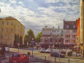Photo: Einmündung der Kampstraße (rechts hinten) in das ,Andreaskreuz' von Berg- und Goldbergstraße. Später wurde hier ein ,Kreisel' angelegt.