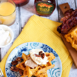 Sweet Potato Cornmeal Waffles with Bourbon Cream and Pecan Butter