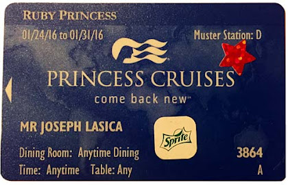 A cruise ID card issued to a guest on a recent Princess Cruises sailing.