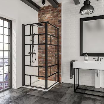 Paroi latérale fixe pour porte de douche pivotante, 80 ou 90 cm, style atelier verrière, profilé noir