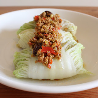 Cuban Picadillo in Napa Cabbage Rolls