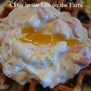 Waffles Benedict with a Creamy Sage Sauce