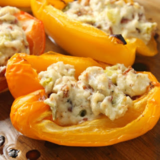 Keto Blue Cheese & Bacon Stuffed Peppers.